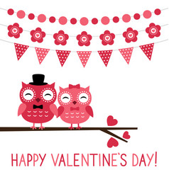 Cute owl couple valentine card vector