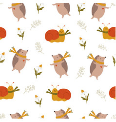 cute seamless pattern with funny hedgehogs and vector image
