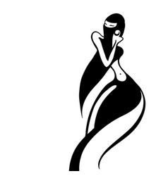 Eastern woman silhouette hand drawn vector