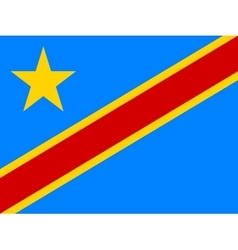 Flag of DR Congo in correct proportions and colors vector