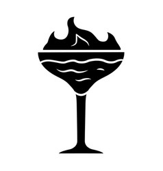flaming cocktail glyph icon martini glass vector image
