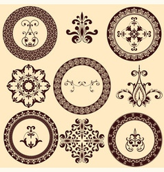floral retro frames and design elements vector image