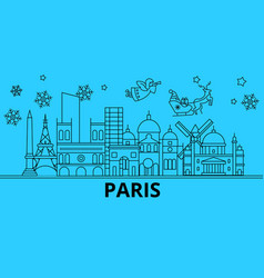 france paris winter holidays skyline merry vector image