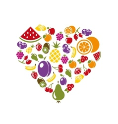 fruit icons in heart vector image
