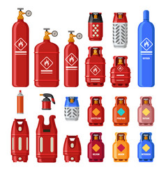 Gas tank gaz cylinders with acetylene propane or vector