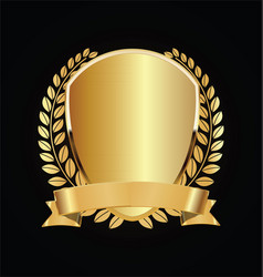 Gold and black shield with laurels 01 vector
