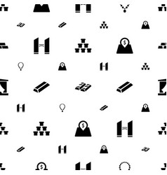 golden icons pattern seamless white background vector image
