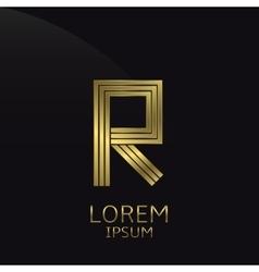 Golden R Letter vector image