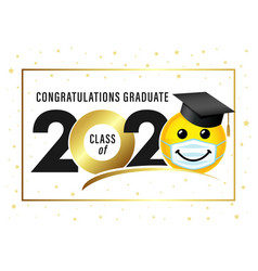 Graduating class 2020 smile in academic cap vector