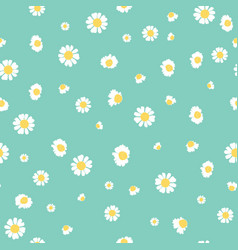 Green daisies ditsy seamless pattern design vector