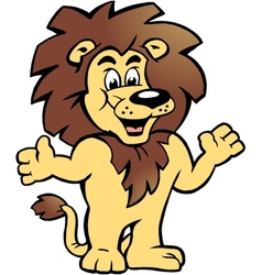 Hand-drawn of an happy proud lion king vector