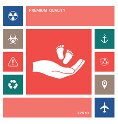 hands holding baby foot elements for your design vector image