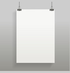 hanging poster mock up in realistic style vector image