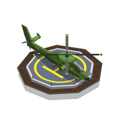 helicopter pad isometric composition vector image
