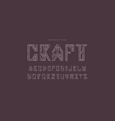 Hollow sans serif font in timbered house style vector