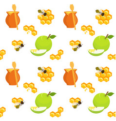 honey pots apples and honeycomb seamless pattern vector image