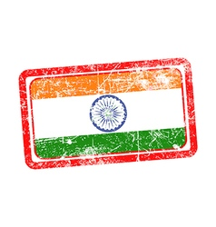 India flag red grunge rubber stamp vector