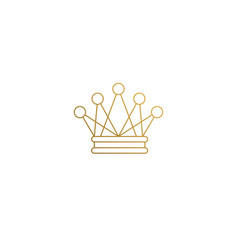 linear design golden crown hand drawn with thin vector image