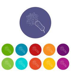 Little petard icons set color vector