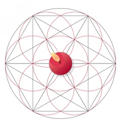 Magic ritual with candle Sacred geometry sign vector image