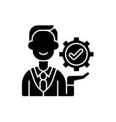Management black glyph icon vector