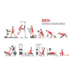 Men doing exercises vector
