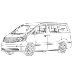 minivan car abstract drawing wire-frame eps10 vector image
