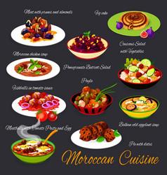 Moroccan cuisine food morocco arabic meals menu vector