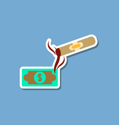 paper sticker on stylish background poker cigar vector image