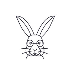 rabbit head line icon sign vector image vector image