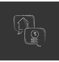 Real estate transaction Drawn in chalk icon vector