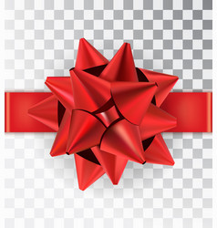 realistic bow red satinisolated on a transparent vector image
