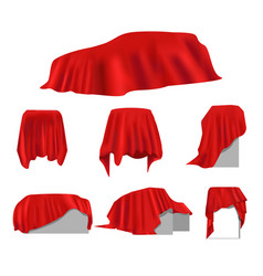 Realistic red silk cloth drapery covered object vector