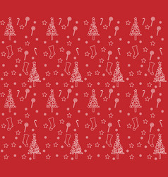 red wrapping paper with background of christmas bo vector image