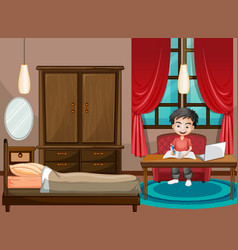 Scene with boy working on computer in bedroom vector