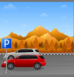 Scenery with parking zone sign and two car vector