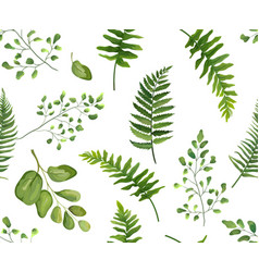 Seamless greenery green leaves botanical rustic vector