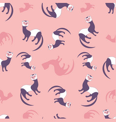 seamless pattern cute cartoon style ferret on vector image
