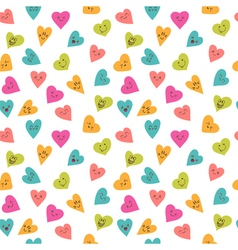 Seamless pattern with funny smiley hearts Cute vector