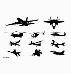 Set airplane silhouette or various black vector