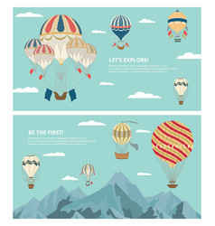set backgrounds with hot air balloons in sky vector image
