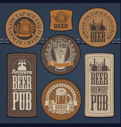 Set leather labels on denim on theme pub vector