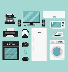 set of electric home appliances vector image