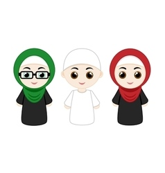 set of muslim people vector image