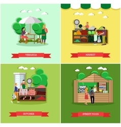 Set of shopping market posters banners in vector