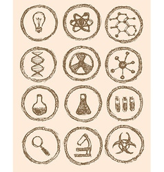 Sketch chemical icons in vintage style vector image