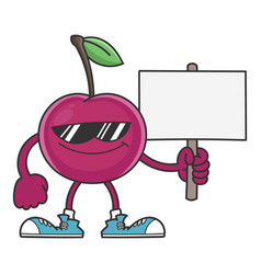 smiling cherry cartoon with sunglasses character vector image