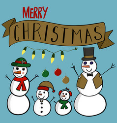 snowman family elements vector image