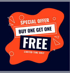 Special buy one get one free sale offer background vector