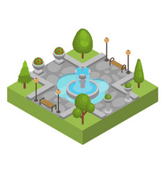 Square with fountain in city park isolated vector